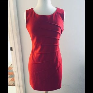 CALVIN KLEIN RED SUNBURST DRESS